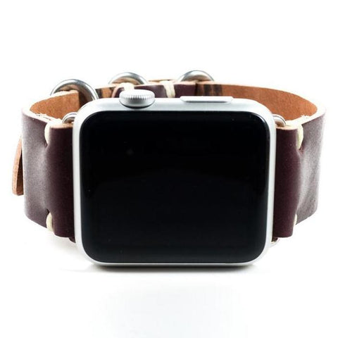 Handmade Color #8 Shell Cordovan Leather Strap for Apple Watch- 38mm & 42mm