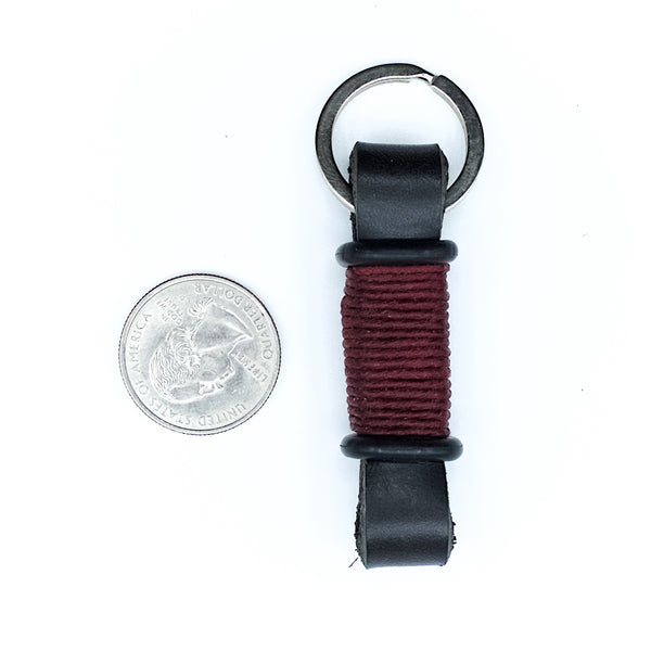 Horween Leather Motorcycle Keychain by E3 Supply Co—Black/Red