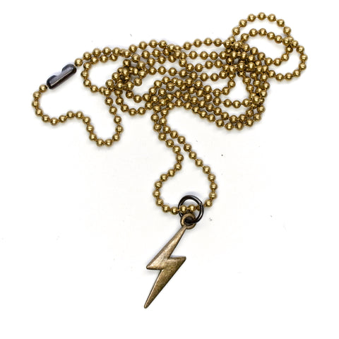 E3 Supply Co Brass Lightning Bolt Pendant Necklace