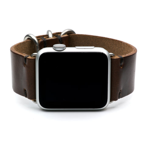 Leather Watch Band for Apple Watch by E3 Supply Co: Brown Horween Chromexcel