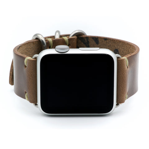 Apple Watch Band for Series 5, 4, 3, 2, 1, and Sport Editions - by E3 Supply Co. - Natural Chromexcel Horween Leather