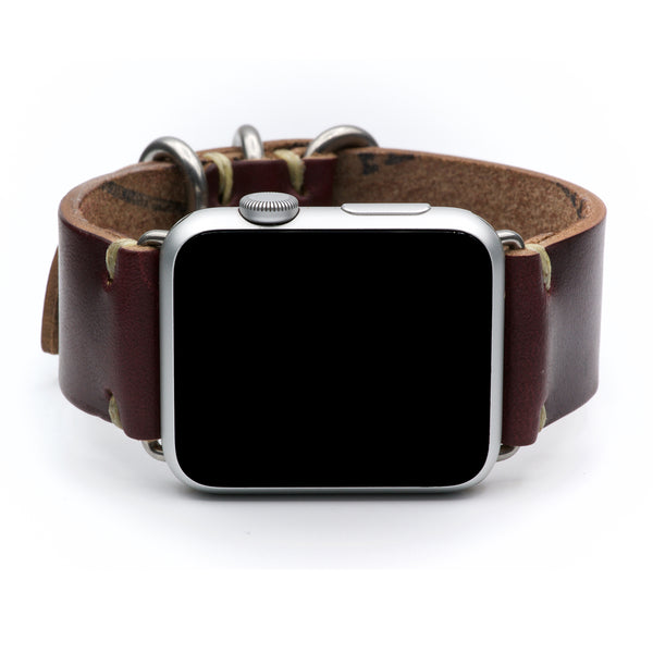 Leather Watch Band for Apple Watch by E3 Supply Co: Burgundy Horween Chromexcel