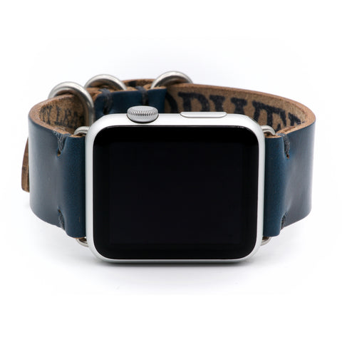 Apple Watch Band for Series 4, 3, 2, 1, and Sport Editions - by E3 Supply Co. - Navy Blue Chromexcel Horween Leather