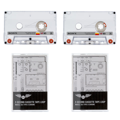 2 Pack: Cassette Tape Loops: Vintage HF Series / 5 Second Length