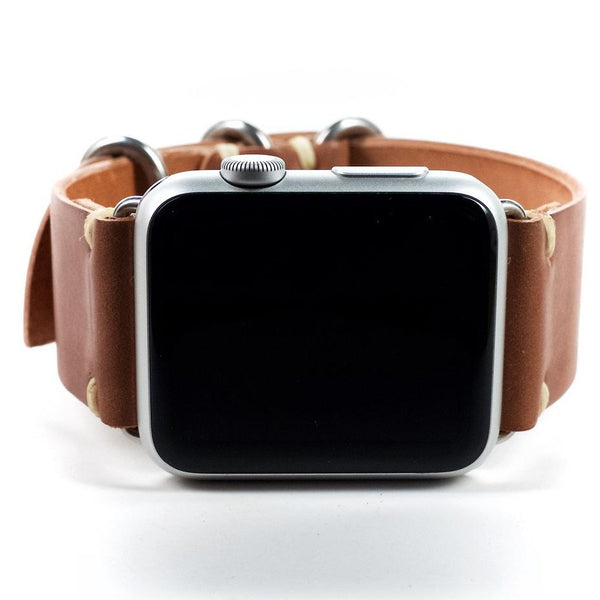 Shell Cordovan Leather Apple Watch Band by E3 Supply Co- 38mm & 42mm- Whiskey