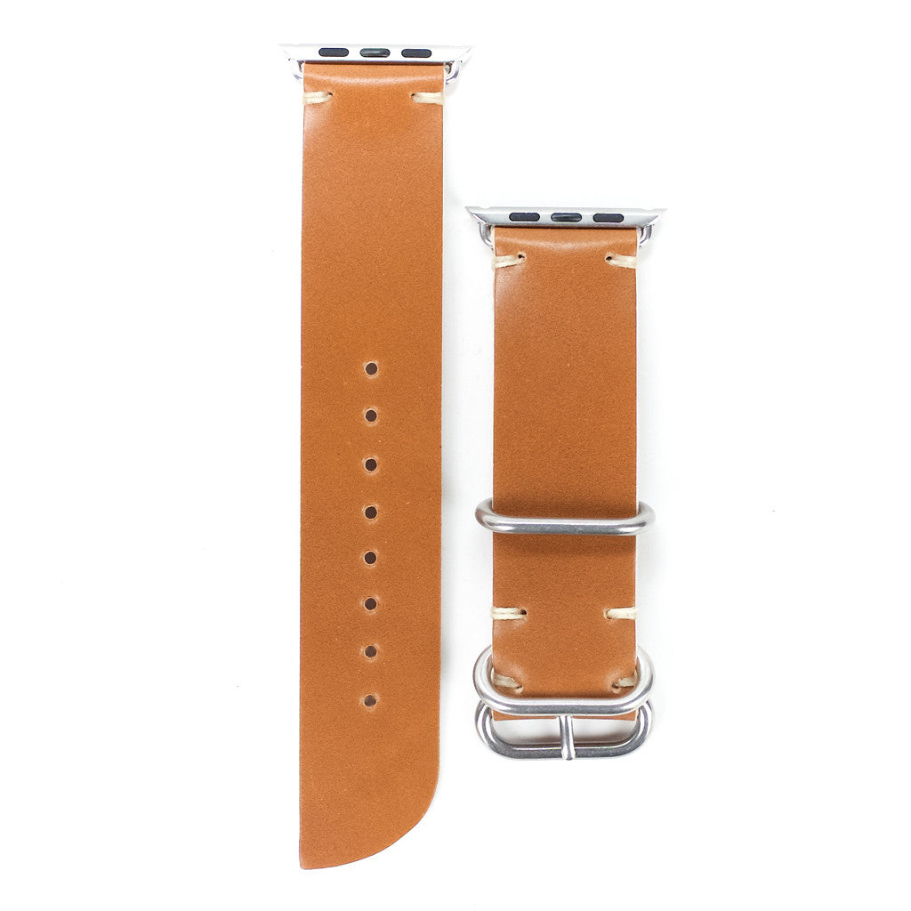 Handmade Whiskey Shell Cordovan Leather Strap for Apple Watch by E3 Supply Co - 38mm & 42mm