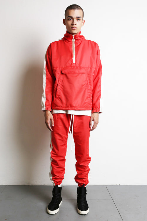 anorak track pullover in red/ivory by daniel patrick