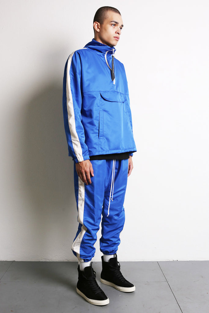 parachute track pant in cobalt/ivory by daniel patrick