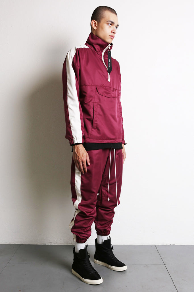 parachute track pant in maroon/ivory by daniel patrick