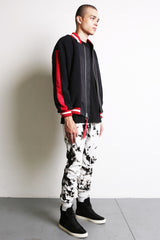 varsity sherpa bomber jacket in black/red by daniel patrick