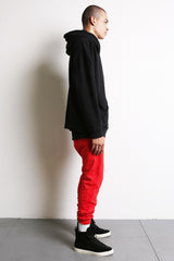 heavy hoodie LA in black/red/natural by daniel patrick