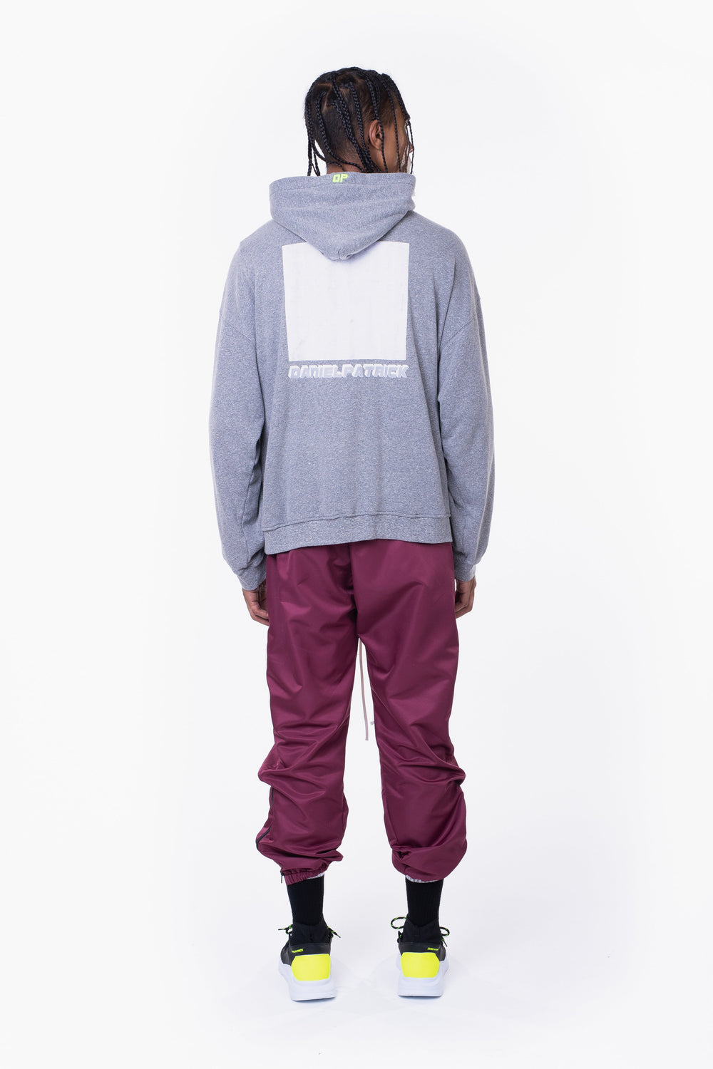 distressed square hoodie / heather grey + white