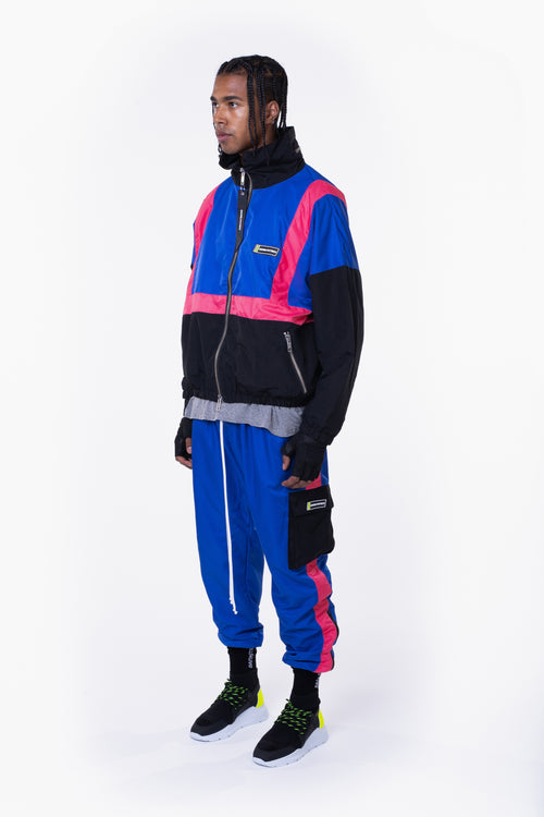 2020 track jacket / black + cobalt + wildflower pink