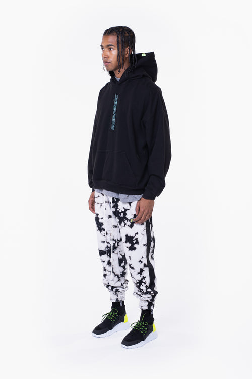 vertical logo hoodie / black + sea foam