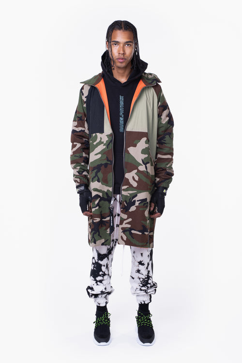 M93 track raincoat / camo + black + smog grey