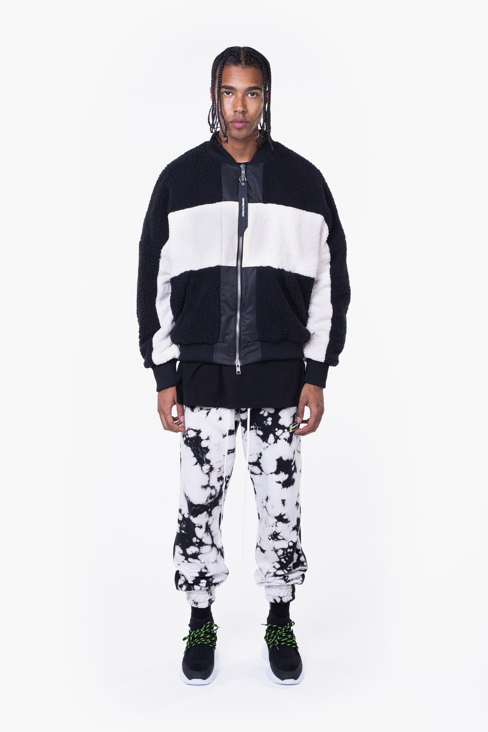 panel sherpa bomber / black + ivory