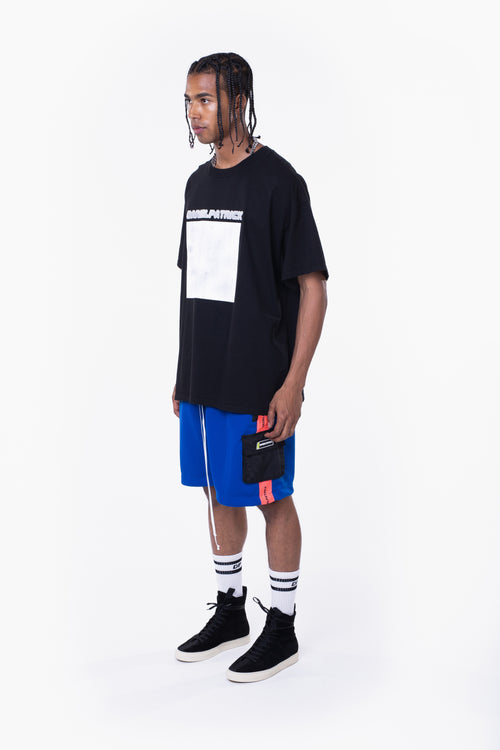 distressed square tee / black + grey