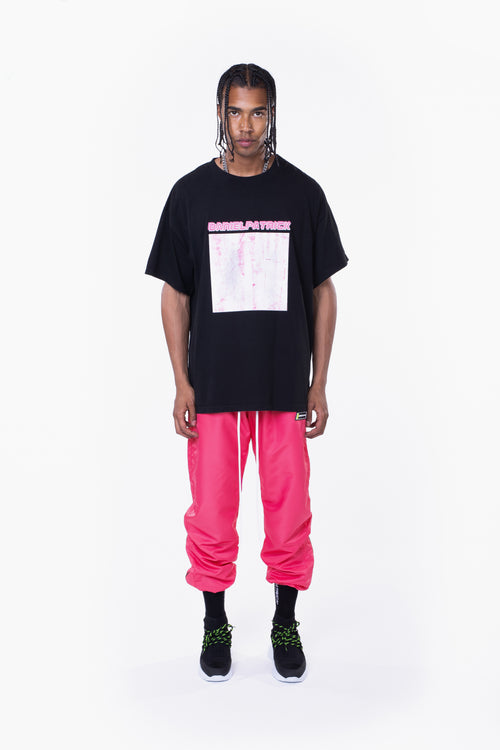 distressed square tee / black + wildflower pink