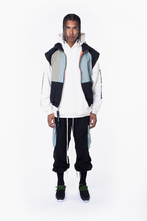 M93 cargo vest / black + smog grey + sea foam