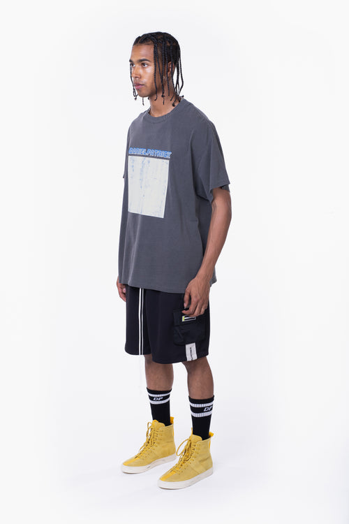 distressed square tee / vintage black + cobalt