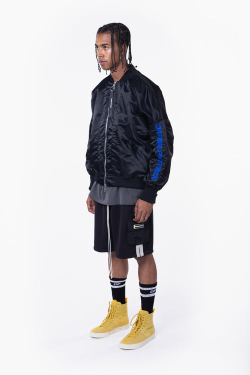 DP embroidered sleeve bomber / black + cobalt