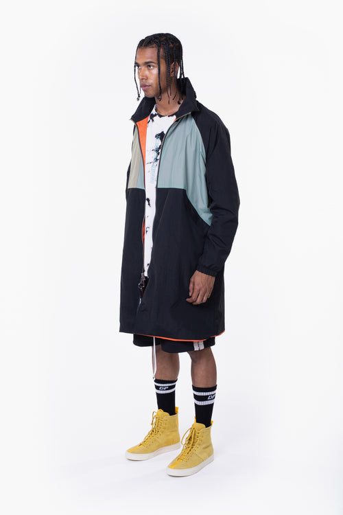 M93 track raincoat / black + smog grey + sea foam
