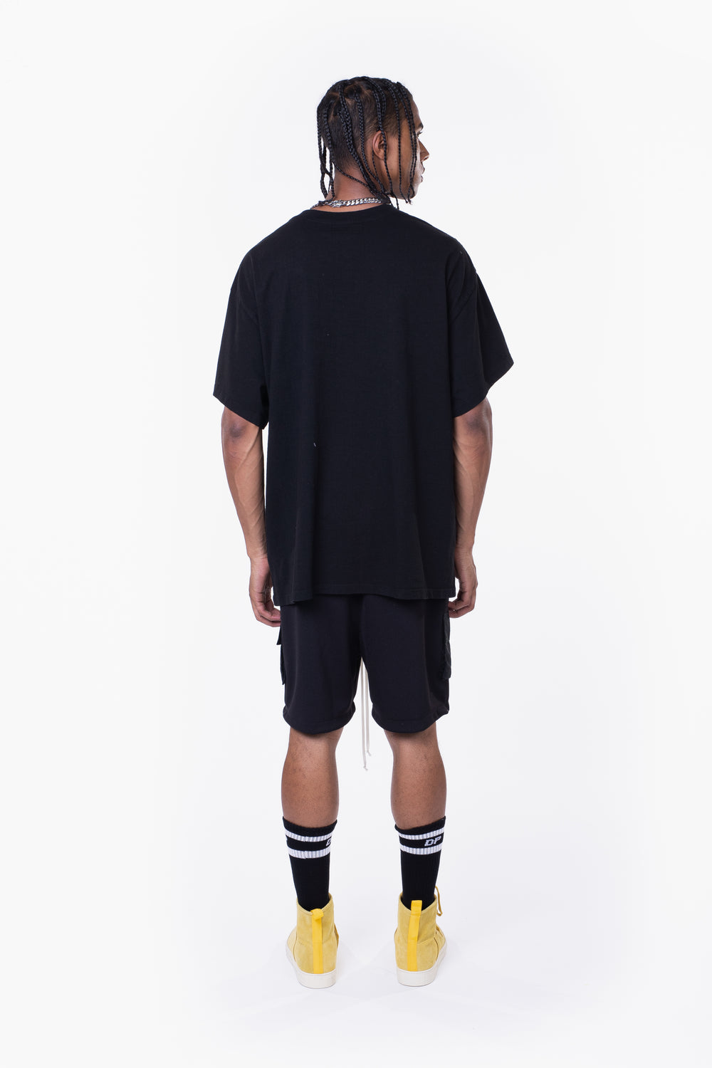 vertical logo tee / black + smog grey
