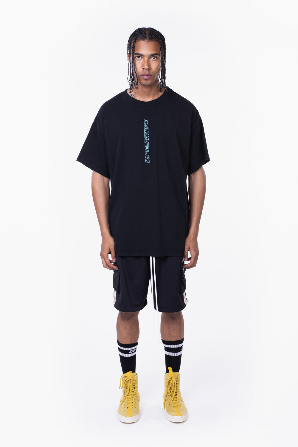 vertical logo tee / black + sea foam