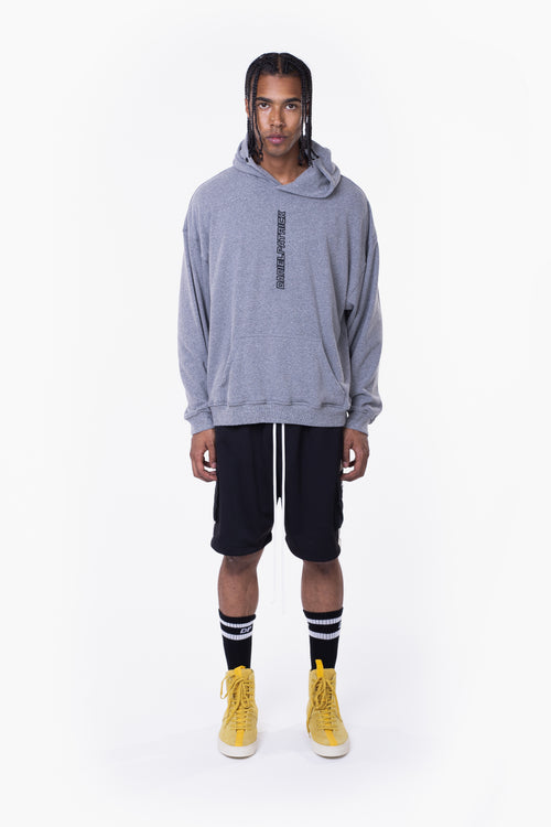 vertical logo hoodie / heather grey + black