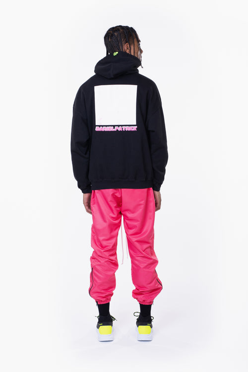 distressed square hoodie / black + wildflower pink