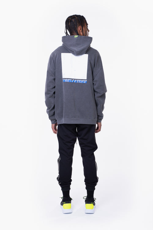 distressed square hoodie / vintage black + cobalt