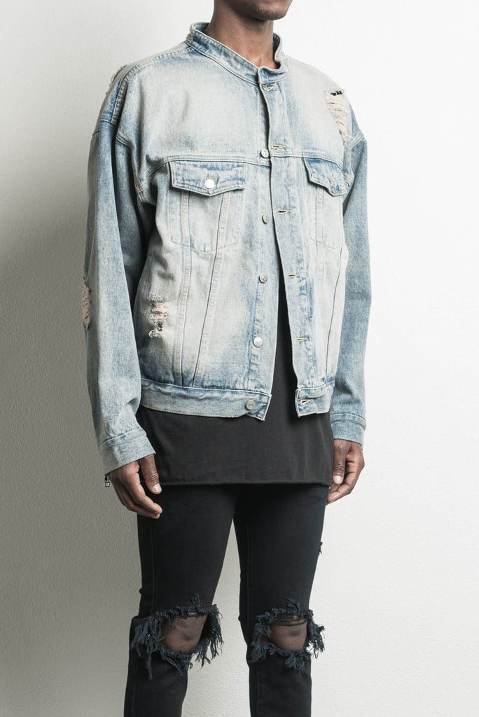 oversized denim jacket in blue desert by daniel patrick