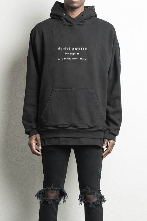heavy hoodie LA in black by daniel patrick