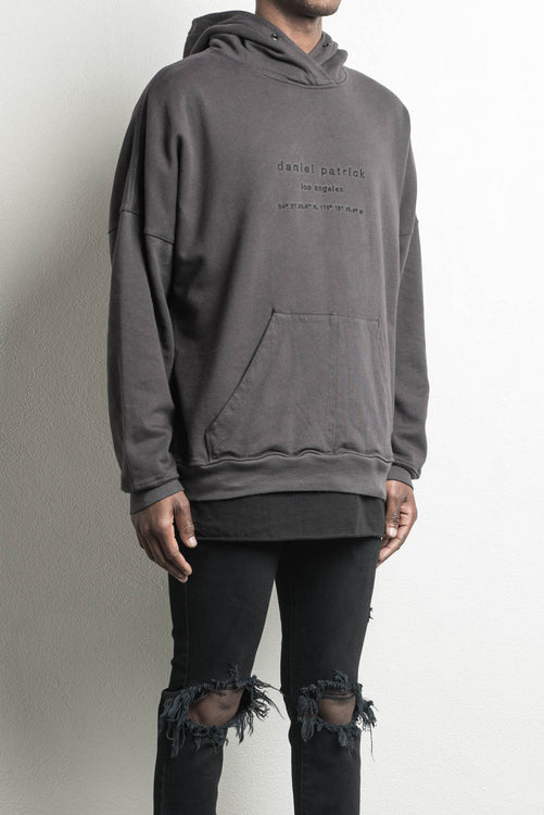 heavy hoodie LA in faded black by daniel patrick