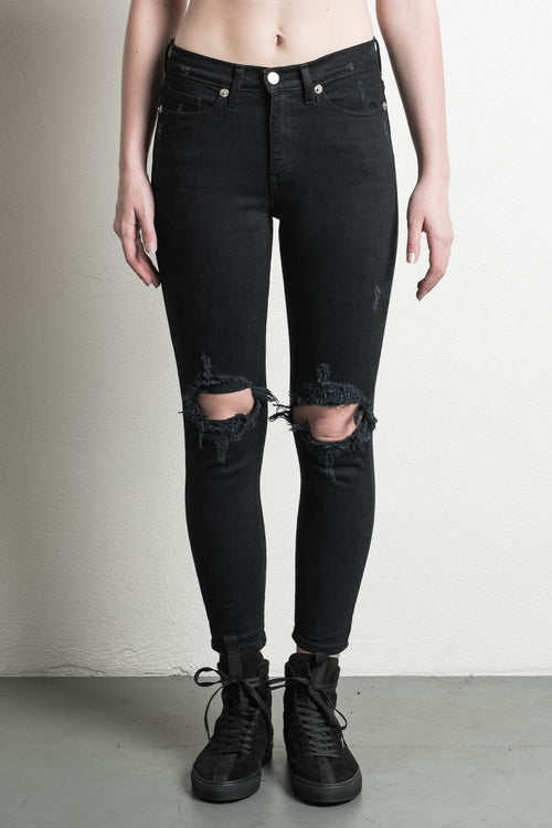 womens high rise girlfriend jean in black by daniel patrick