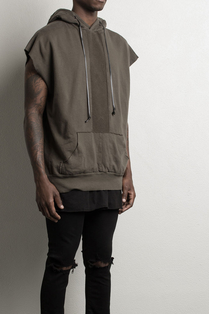 sleeveless hoodie by daniel patrick in army, alternate image
