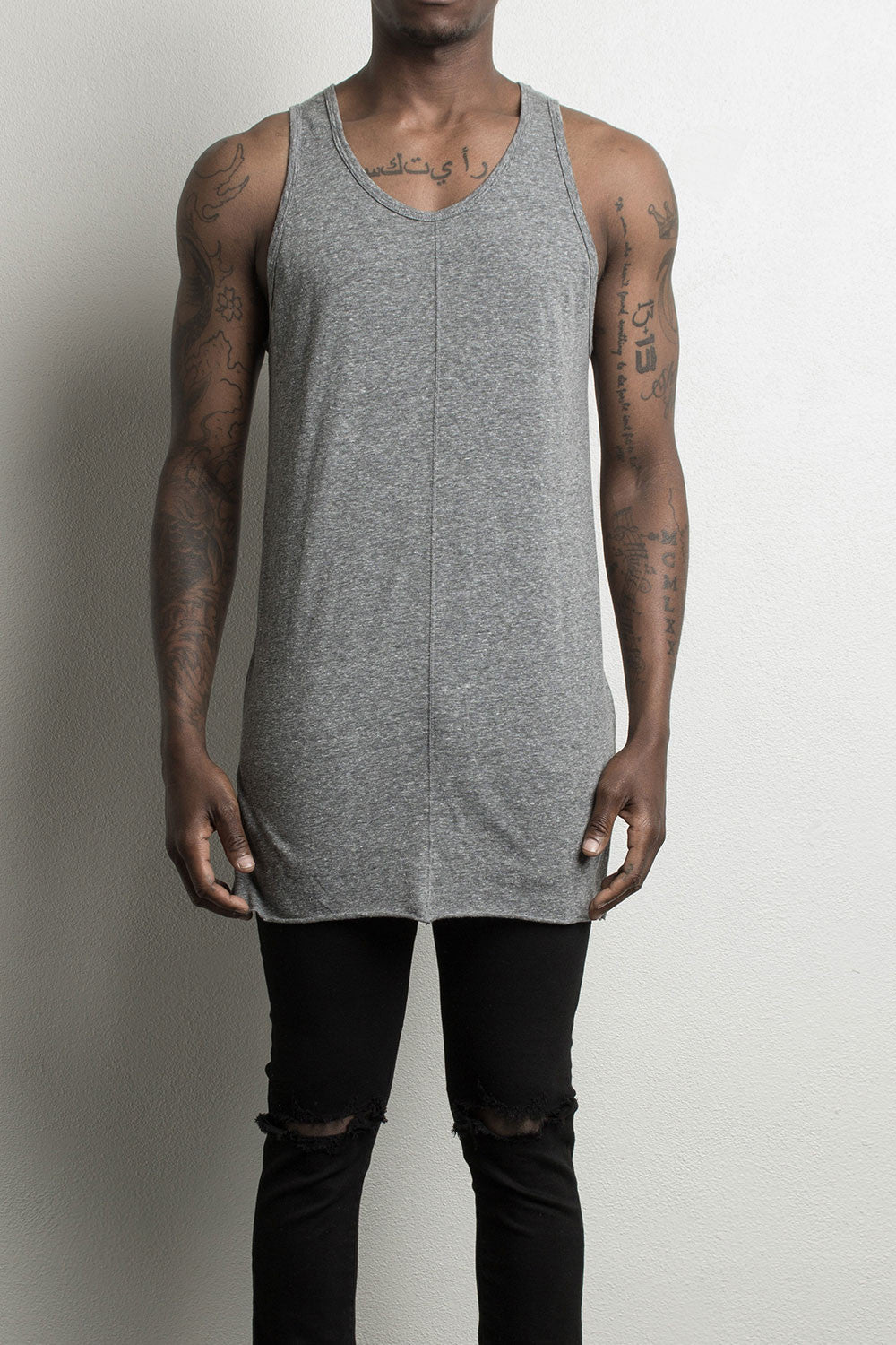 loose tank top by daniel patrick in heather grey