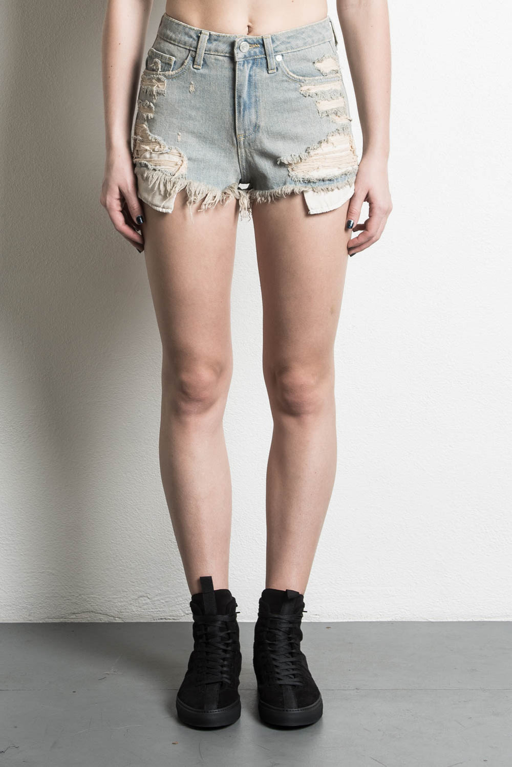high rise denim short in blue desert by daniel patrick