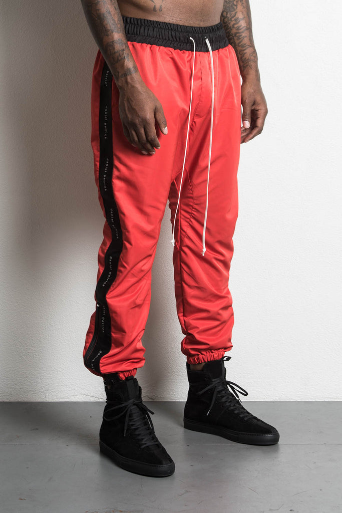 dp parachute track pant in red/black by daniel patrick