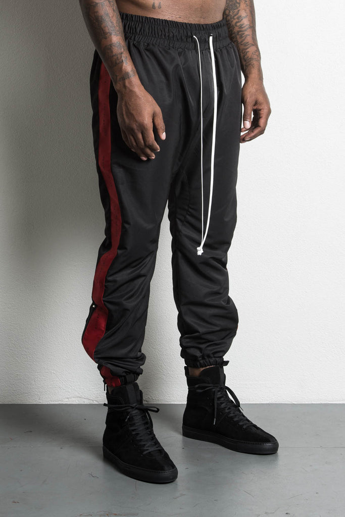dp parachute track pant in black/red by daniel patrick