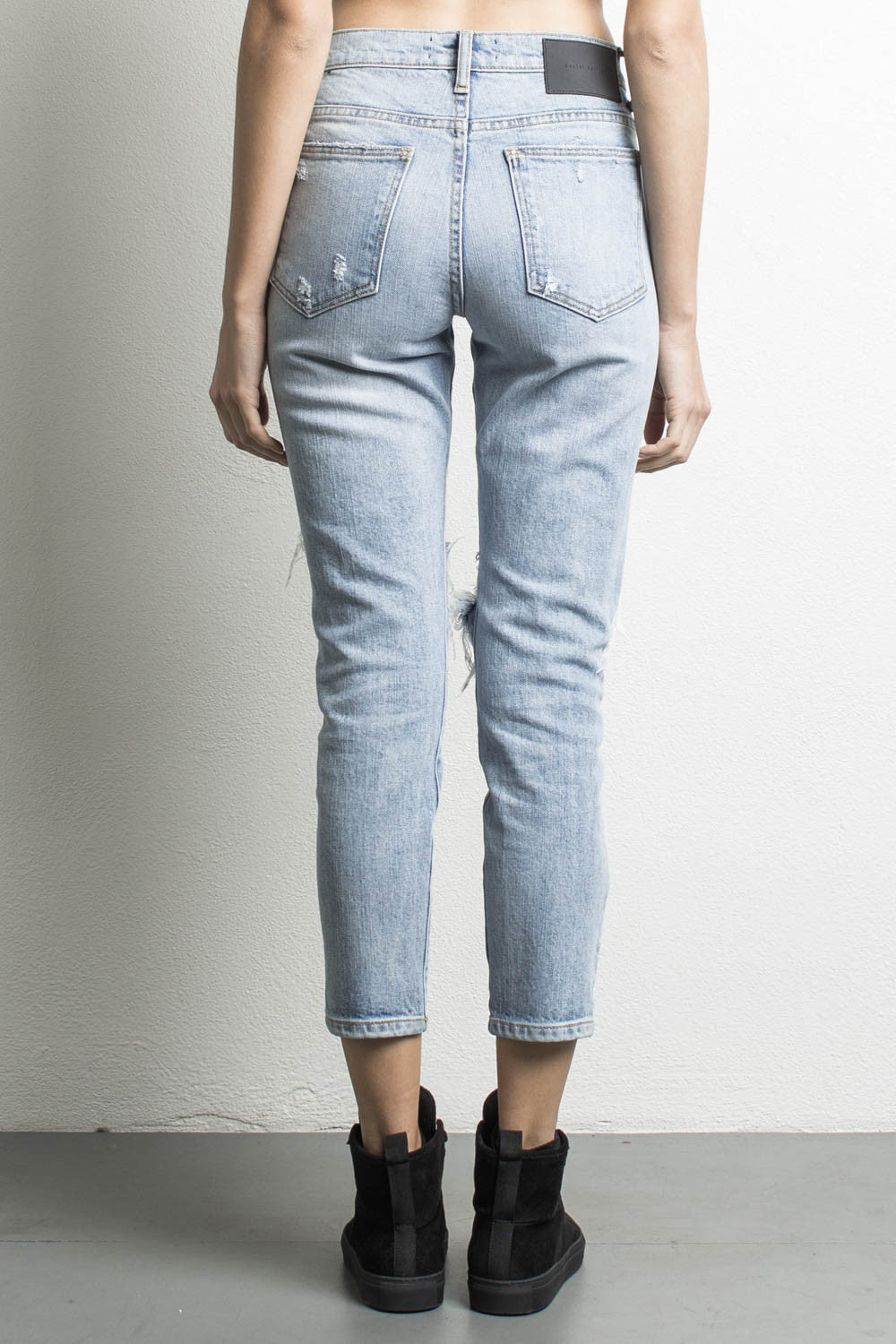 womens high waisted denim jeans in blue wash by daniel patrick