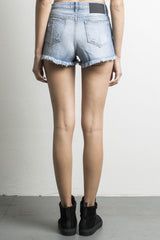womens high waisted denim shorts in blue wash by daniel patrick
