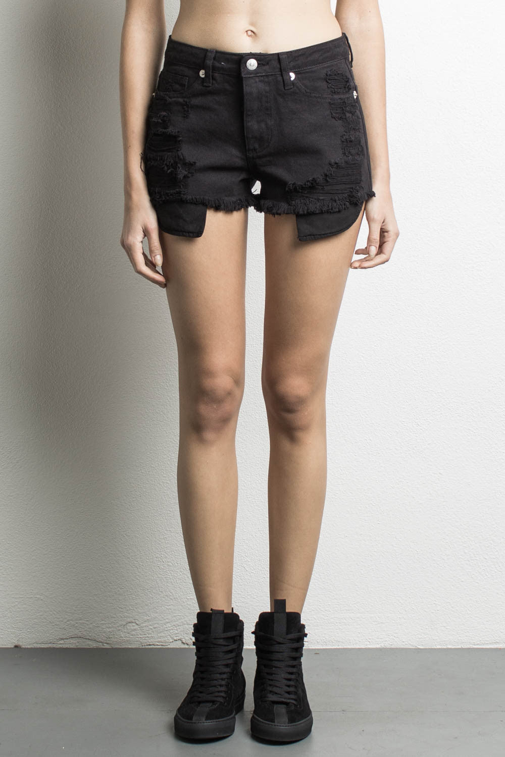 best price pretty cheap wholesale online DANIEL PATRICK | High Waisted Denim Shorts, Black - Daniel Patrick ...