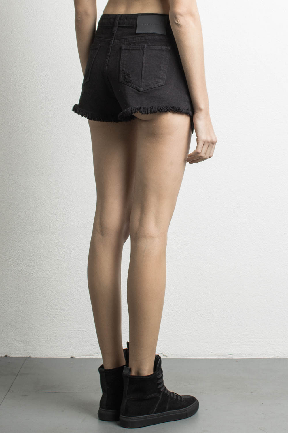 womens high waisted denim shorts in black by daniel patrick