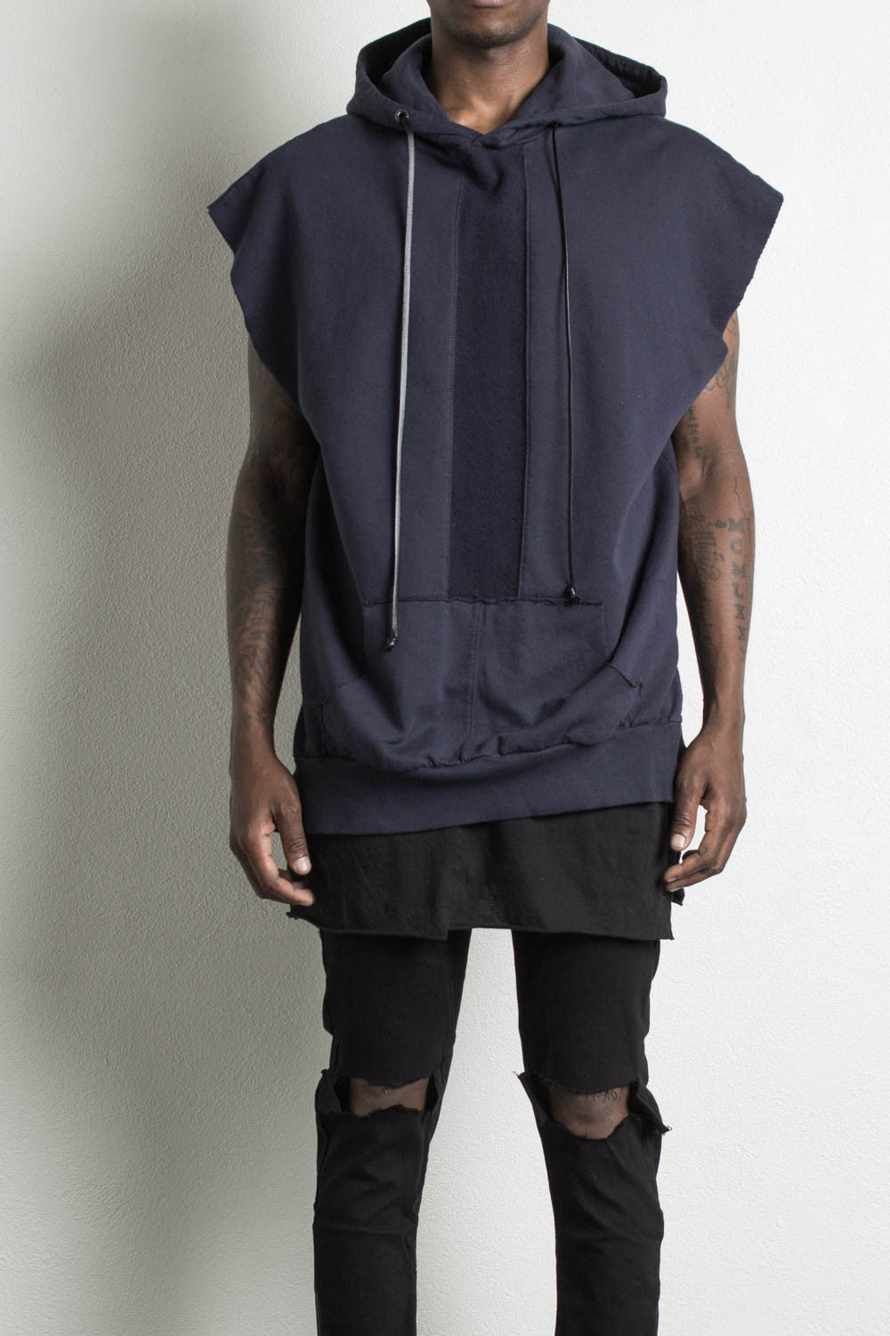 sleeveless hoodie in ink by daniel patrick