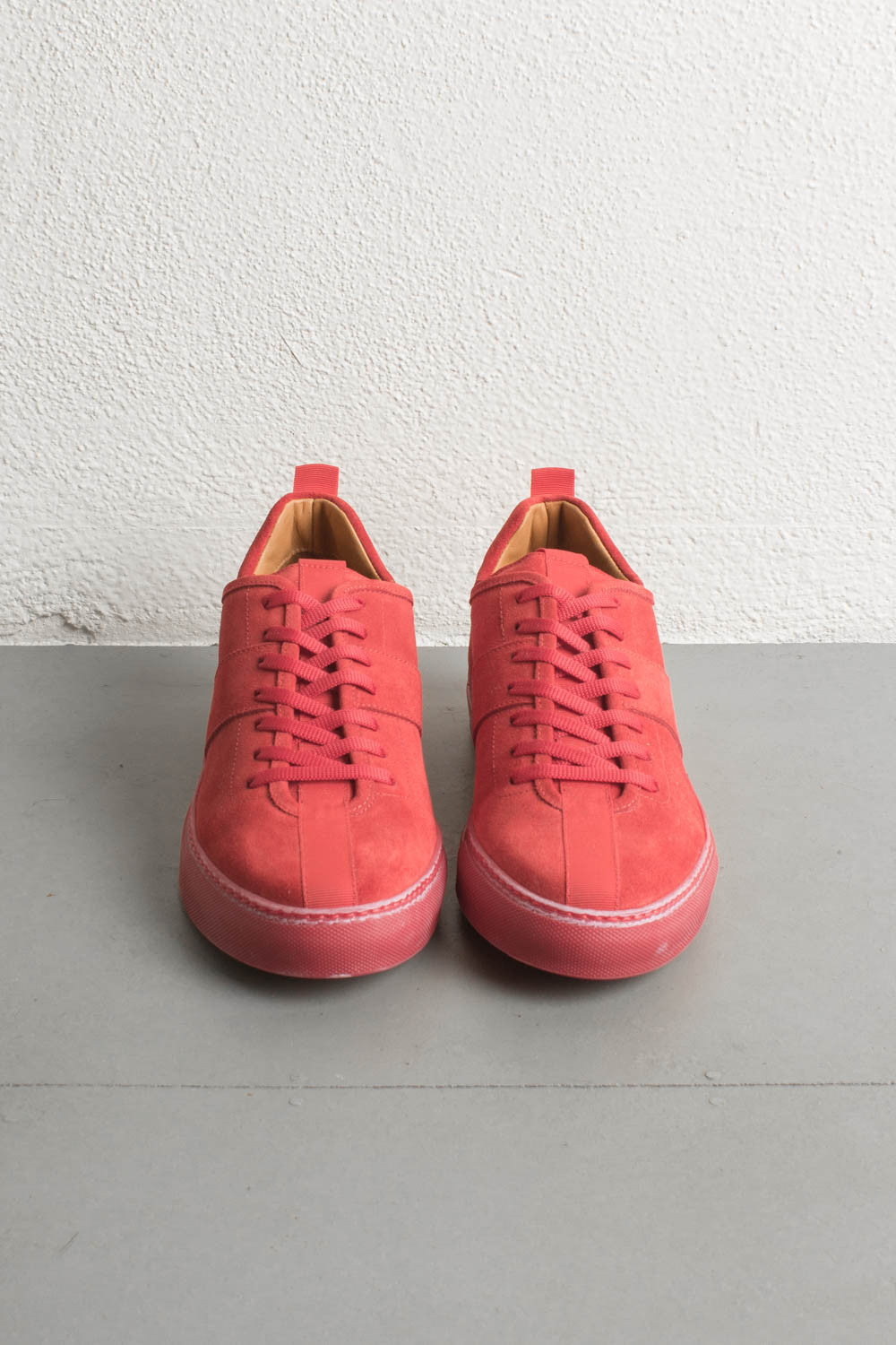 red low top sneakers by daniel patrick