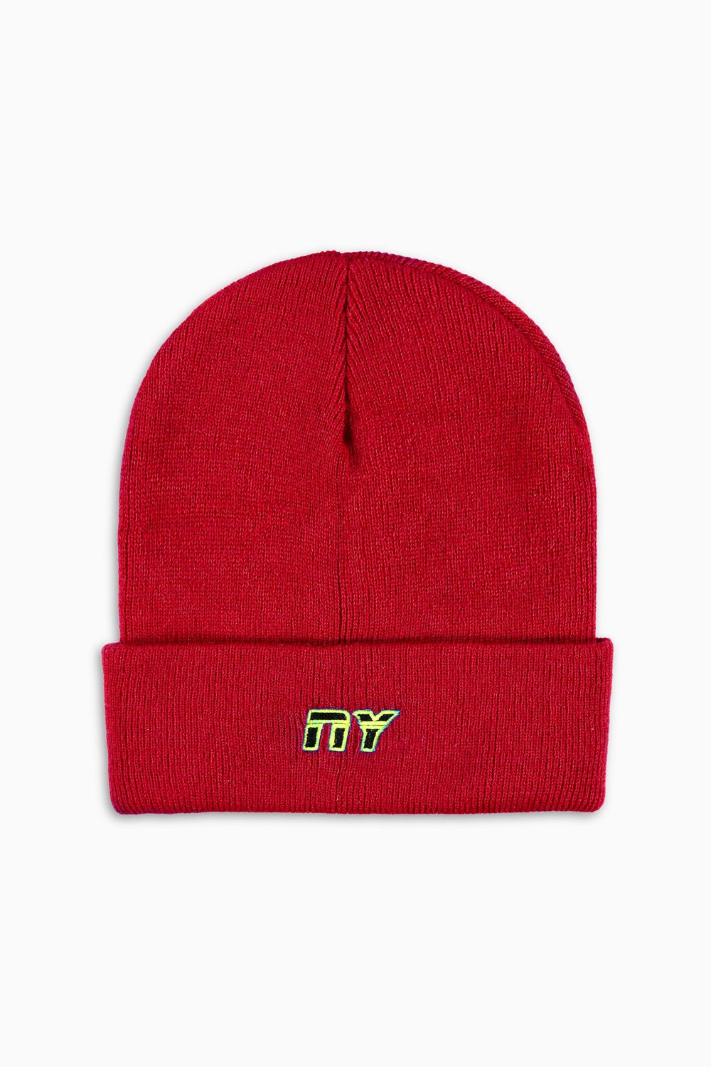 NY starter beanie / red + neon + blk