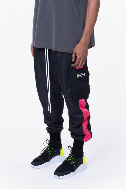 cargo parachute track pant / black + wildflower pink