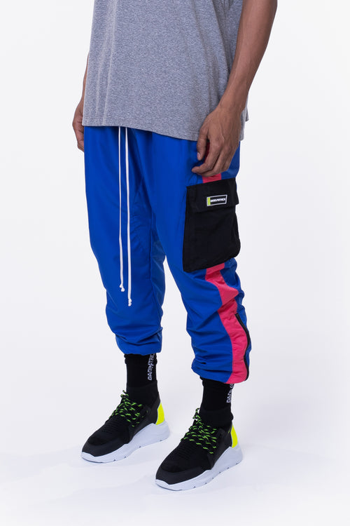 cargo parachute track pant / cobalt + wildflower pink + black