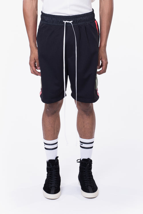 cargo gym short / black + neon pink + smog grey